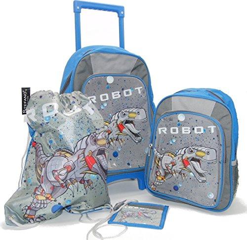 STEFANO Kinder Reisegepäck Roboter grau Set Trolley Koffer Rucksack Sportbeutel Brustbeutel --präsentiert von RabamtaGO®-- (Set 4tlg.)
