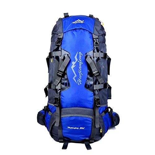 HWJF Borsa per alpinismo all'aperto escursioni grande capacità 80L borsa a tracolla professionale di trasporto , dark blue Blue