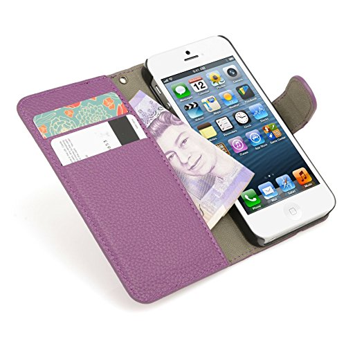 Genuine MadCase? Clear Transparent Ultra Thin Slim Crystal Back Cover Case for Apple iPhone 5 16GB 32GB 64GB - includes Screen Protector and Cloth grainé PU Doux - Violet