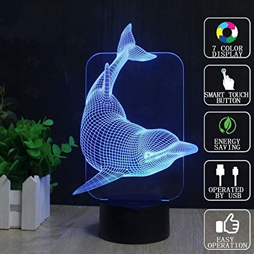 3D-Magic-Schreibtischlampe, LED-Touch-Schalter 7 Farben blinkende Illusion Lichter, ein kleines Nachtlicht mit USB-Ladekabel, Tischlampe für Kinderheim Dekoration Geschenke (Wolf Head, Dolphin) ( Design : B )