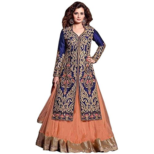 Ethnic Empire DESINGER ORANGE AND BLUE COLOR NET LEHENGA CHOLI For Girls...