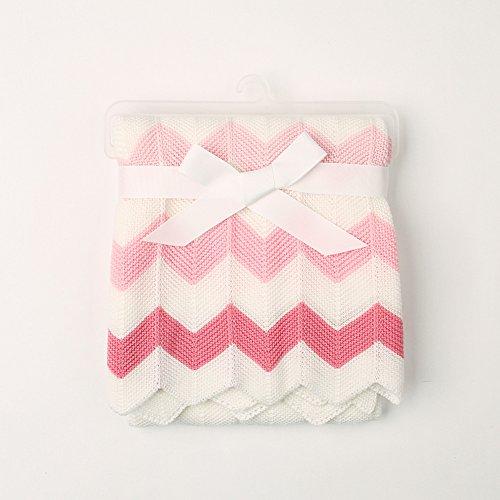 Unbekannt Per Gestrickte Babydecke mit Wellen-Streifen wickeln, die Decken erhalten, werfen für neugeborene Jungen-Mädchen-Kinderkleinkinder-Rosa -