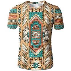 Patrón étnico de la Tribu Secreta Azteca en Camiseta de Manga Corta de Estilo Bohemio de nativos Americanos para Hombres