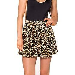 Vemubapis Mujer Falda Mini Leopardo Patrón Plisado Skater Faldas Club Desgaste Marrón L