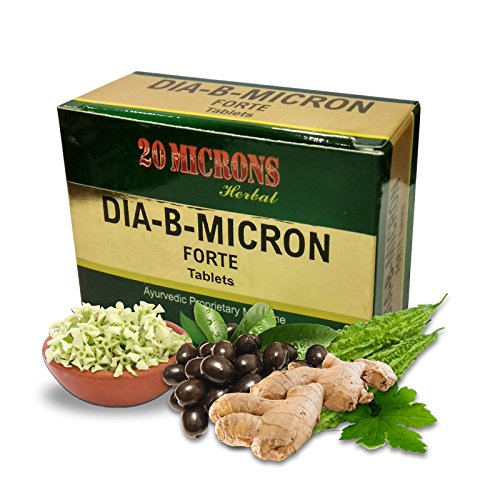20 MICRONS HERBAL Dia-B-Micron Forte, Ayurvedic Diabetes Supplement (30 Tablets)
