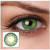 Farbige Kontaktlinsen cool green 2x grüne Kontaktlinsen ohne Stärke + gratis Kontaktlinsenbehälter