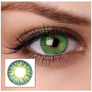 "Farbige Kontaktlinsen""cool green"" 2x grüne Kontaktlinsen ohne Stärke + gratis Kontaktlinsenbehälter"
