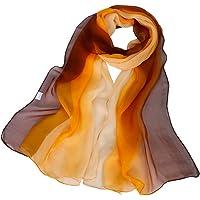 KAVINGKALY Sciarpa leggera in misto seta bianco Ombre Sciarpa leggera rettangolare in