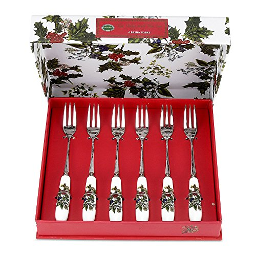 Portmeirion Holly And Ivy Set Of 6 Pastry Forks -