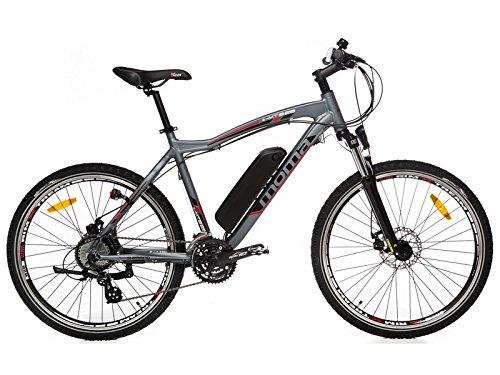 """Moma - Bicicleta Eléctrica Montaña 26"""" aluminio, SHIMANO, doble disco, Batería Ion-Litio 36V 16Ah"""