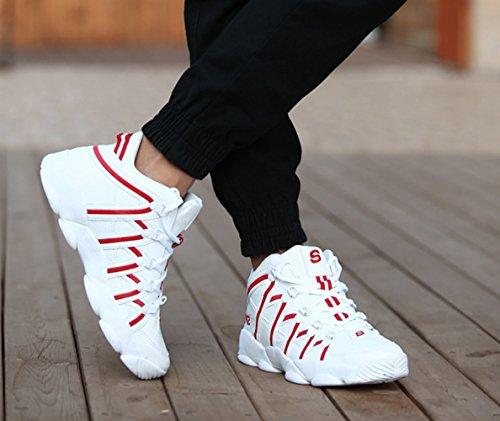 Chaussure de sport pour amoureux homme personnalité sneakers adulte jeune moderne Blanc Rouge