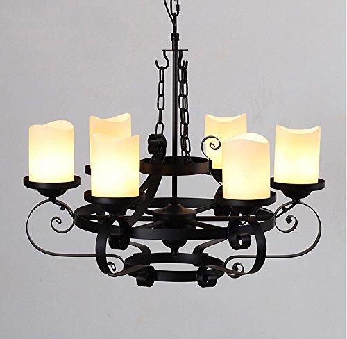 SDKKY Bügeleisen kunst Glas runde Kerze Kronleuchter