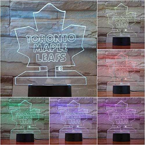 Lixiaoyuzz Nachtlampe 3D Led Usb Puck Nhl Toronto Maple Leafs Team Logo Mehrfarben Rgb Eishockey Kinder Kinder Fan Geschenk Schreibtischlampe Nachttisch
