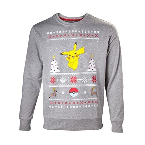 Pokémon Men's Christmas Jumper Dancing Pikachu | Large | Grey (Dancing Santa Weihnachten)