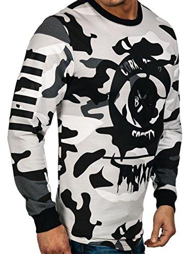 BOLF Herren Sweatshirt Langarmshirt Pullover Sweatjacke Pulli Camo Mix 1A1 Motiv Grau_0755