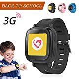 Oaxis 3G Kids watch Kinder GPS Telefon-Uhr SOS Smartwatch Tracker / Locator & Watch Phone (Schwarz)