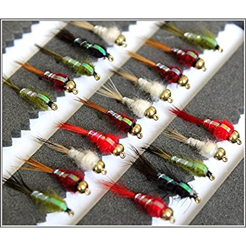 25trota pesca a mosca mosche Flash Back Nymph cicalino Ganci casuale 102 - Pesca A Mosca Indicatori Sciopero