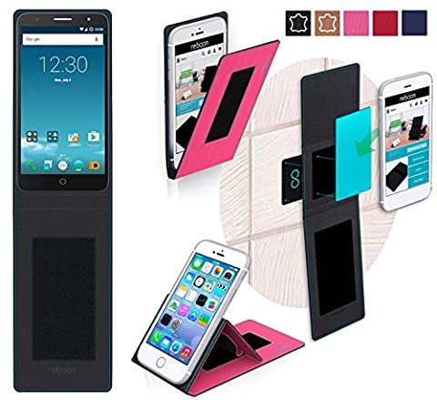 Alcatel Pop Mirage Cover in Pink - innovative 4 in 1 Case - Anti-Gravity Wall Mount, Car Tablet Holder, Table Stand Holder - Protective Bumper for a Car and Wall without tools or glue - for the Original Alcatel Pop Mirage from