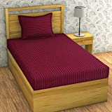 Divine Homes Set of 1 Pc Solid Color Single Striped Embossed Microfiber Bedsheet with 1 Pc Pillow Cover - Dark Wine…