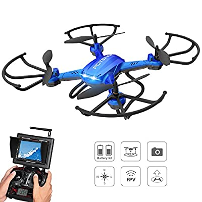 Potensic Drone with HD Camera, F181DH RC 5.8Ghz FPV Quadcopter Drone RTF Altitude Hold UFO with Newest Hover and 3D Flips, Stepless-speed Function, 2MP HD Camera & LCD Screen Monitor