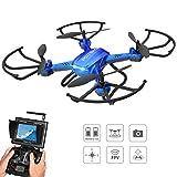 Potensic Drone Con Fotocamera HD,Drone RC Wifi FPV Con Funzione Stepless-speed,Funzione Di 3D Flips, Fotocamera HD 2MP , FPV LCD Monitore a Schermo Da 5.8Ghz - Blu