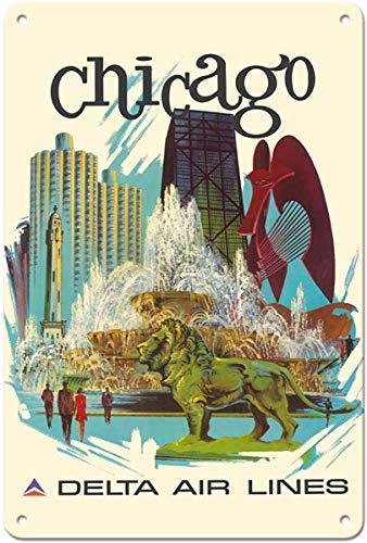 JIA KOAH Chicago,IllinoisBuckingham Fountain,Marina City Zinn Wand Zeichen Retro Plaque Hof Vintage Metall Kunstwerk Poster Dekoration Souvenir Fender Metallschild -