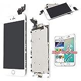 recyco LCD für iPhone 6 Plus Bildschirm Ersatz - Weiß Full Ersatz Touch Digitizer mit Home Button + Sensor + Frontkamera Rahmen Gehäuse Montageplatte