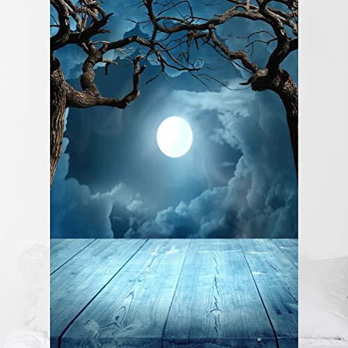 Gruselige 3D Halloween Foto Hintergrund Moonlit Hintergrund Foto von Horoskop Baum Foto für Ferien Photo Booth Foto Studio (90 * 150 cm DZ-769)