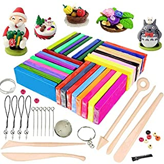 Polymer Clay, 32 Colours Oven Bake Polymer Clay, iFergoo DIY Modelling Clay Kit with 5pcs Modeling Tools, Tutorials and Accessories, 1.8lb