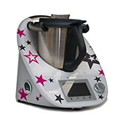 Idea Regalo - Grafix - Adesivi per Thermomix TM5, motivo:i stelle, colore: antracite e rosa