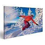 islandburner Bild Bilder auf Leinwand Snowboarder auf Snowboard reitet durch Schnee, Explosion. Freeride Snowboarden im Skigebiet Shereges Wandbild, Poster, Leinwandbild HOJ-1P