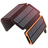 Solar Charger 25000mAh, ADDTOP Solar Power Bank High Capacity with 4 Solar Panels