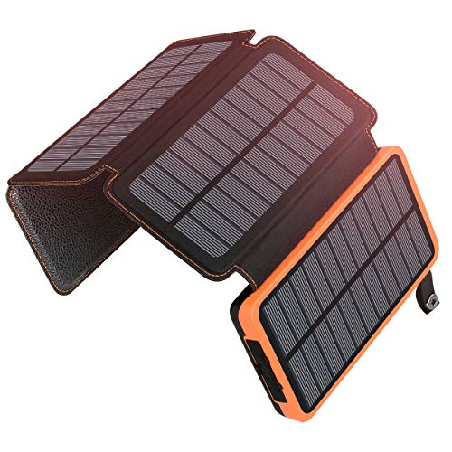 Caricabatterie Solare Portatile 25000mAh, ADDTOP Power Bank con 4 Solari Pannelli Impermeabile Batteria Esterna Dual-port USB 2.1A con LED Flashlight per iPhone, Samsung Galaxy, iPad, Smartphone