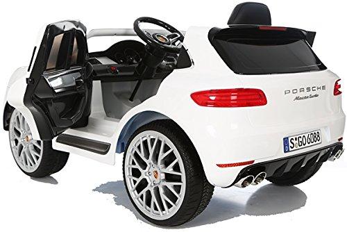 RC Auto kaufen Kinderauto Bild 4: Porsche Macan Turbo viele LED Effekte Soft Start Kinderauto Kinderfahrzeug Kinder Elektroauto Weiss*