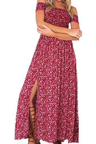 Monissy Femme Robe Longue V-Col A Manches Courtes Sexy Floral Confortable Elégante Cocktail Col Bateau Rouge