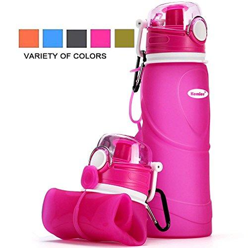 Kemier kollabierbare Silikon-Wasserflaschen-750ML, Medizinische Qualität, BPA-Frei, FDA-Zugelassen, Aufrollen, 26oz, auslaufsicher, Faltbar Sport & Outdoor-Wasserflaschen (Rosa)