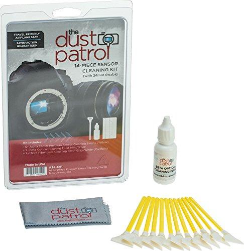 The Dust Patrol Alpha 24mm Premium Sensorreinigungs-Swabs (12er Pack) (Gelb) mit The Dust Patrol Beta optischer Reinigungsflüssigkeit 14ml. Für Kameras mit Vollformatsensoren