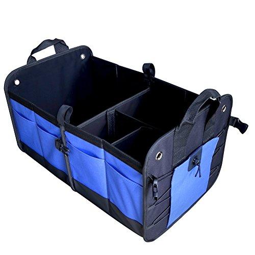 Preisvergleich Produktbild Auto Kofferraum Organizer, MKQPOWER Große Kofferraumtasche aus Oxford Gewebe von Kewago, am besten für SUV, Fahrzeug, LKW, Auto, Haus & Garage Heavy Duty Durable Bau Non-Skid Bottom kommen mit Bungee Cords (blau)