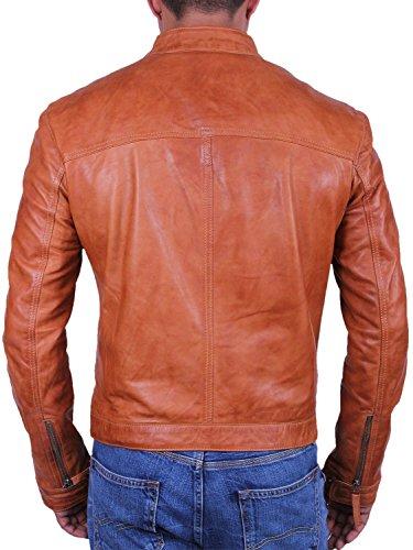 Herren Leder Biker-Jacke Nagelneu mit Umbau Bomberjacke aus Leder Mantel Designer Style Jacke Hallbraun