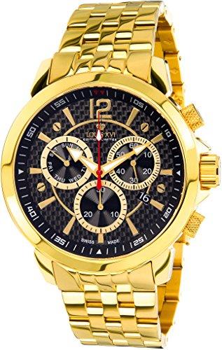 Louis XVI Herren-Armbanduhr Athos le Grand Stahlband Gold Schwarz Karbon Swiss Made Chronograph Analog Quarz Edelstahl 774