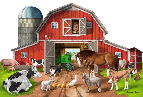 Melissa & Doug - Rompecabezas gigante para piso, Busy Barn Shaped Floor Puzzle (12923)