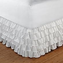 600hilos 100% algodón egipcio elegante acabado 1pieza Multi volantes cama sólida (Drop Longitud: 15cm), algodón, White Solid, EU_Double