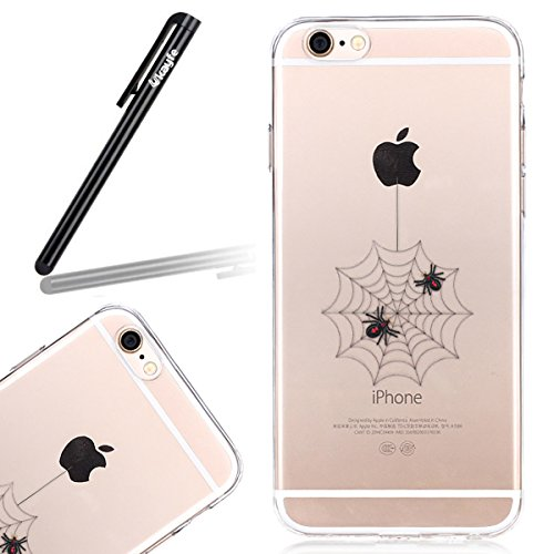 Coque Housse pour iPhone 6, iPhone 6 Silicone Coque Souple Gel Etui, iPhone 6s Transparent Clear Coque Housse, iPhone 6 Portefueille protective Coque, iPhone 6 Soft Silicone Case Slim Cover, Ukayfe Uk toile d'araignée