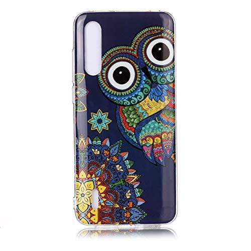 Xiaomi CC9,Millet CC9 Funda de Cuero Luminosa Pintada Funda de Cuero TPU Avanzada del teléfono Inteligente Xiaomi CC9 (Búho Azul)