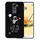 LG Stylus 2 Hülle, WoowCase Handyhülle Silikon für [ LG Stylus 2 ] Astronaut Herz - I Love To the Moon And Back Handytasche Handy Cover Case Schutzhülle Flexible TPU - Schwarz