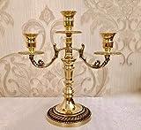 Artissimo Messing ANTIK Kerzenständer Kerzenleuchter 3 armig Gold 26cm Massiv Kandelaber