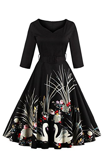 Babyonlinedress Vestido largo y negro de fiesta estilo vintage espalda de cierre con cinturón fino