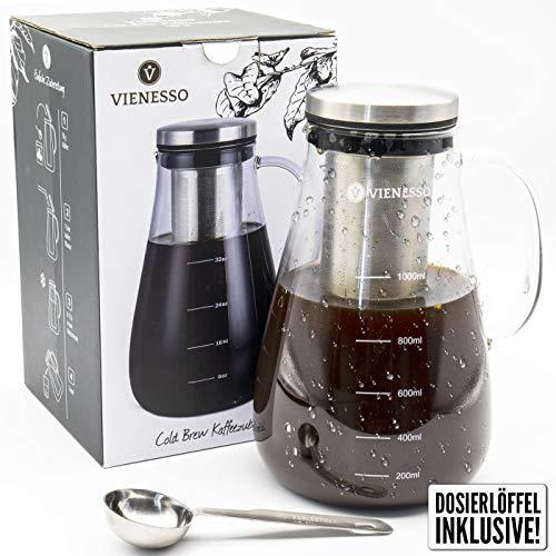 VIENESSO Cold Brew für kaltgebrühten Kaffee oder Tee - Kaffee-Zubereiter mit abnehmbaren Permanentfilter aus Edelstahl inkl. Dosierlöffel, Kaffeekanne aus Glas für 8 Tassen, Coffee Maker (1,0 Liter) (Cold Brew-kaffee-tasse)