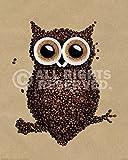 Poster Eule aus Kaffeebohnen - Größe 40 x 50 - Miniposter