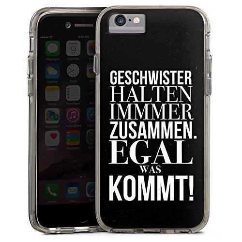 Apple iPhone 8 Bumper Hülle Bumper Case Glitzer Hülle Geschwister Sister Schwester Bumper Case transparent grau